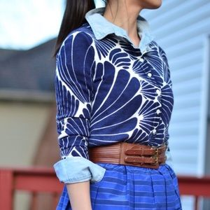 J. Crew Blue & White Tropical Leaf Popover Shirt